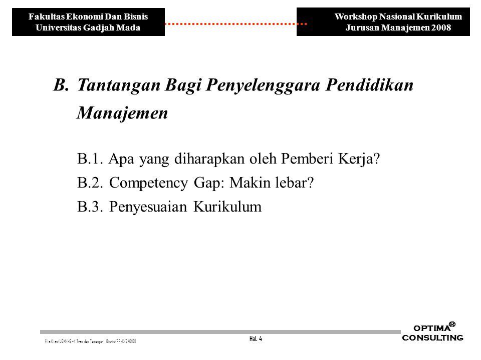 Hal. 4 OPTIMA CONSULTING ® File:Klien/UGM/HS~1 Tren dan Tantangan Bisnis/PP-K/240108 Workshop Nasional Kurikulum Jurusan Manajemen 2008 Fakultas Ekono