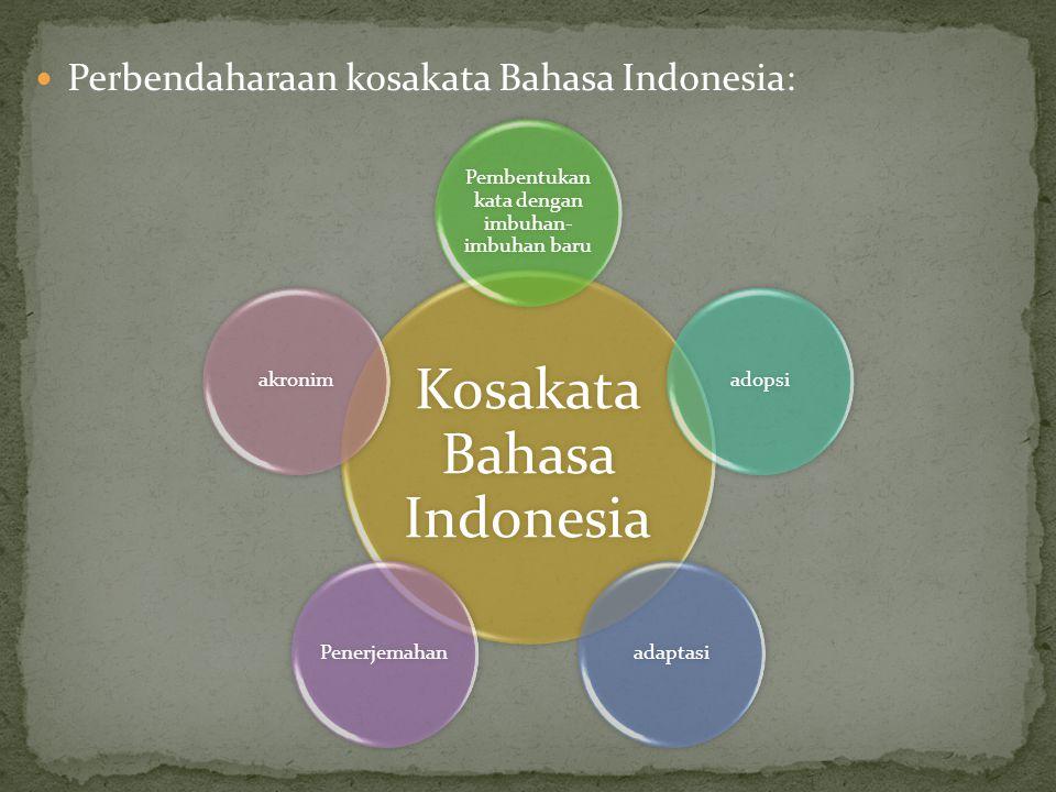 Perbendaharaan kosakata Bahasa Indonesia: Kosakata Bahasa Indonesia Pembentukan kata dengan imbuhan- imbuhan baru adopsiadaptasiPenerjemahanakronim