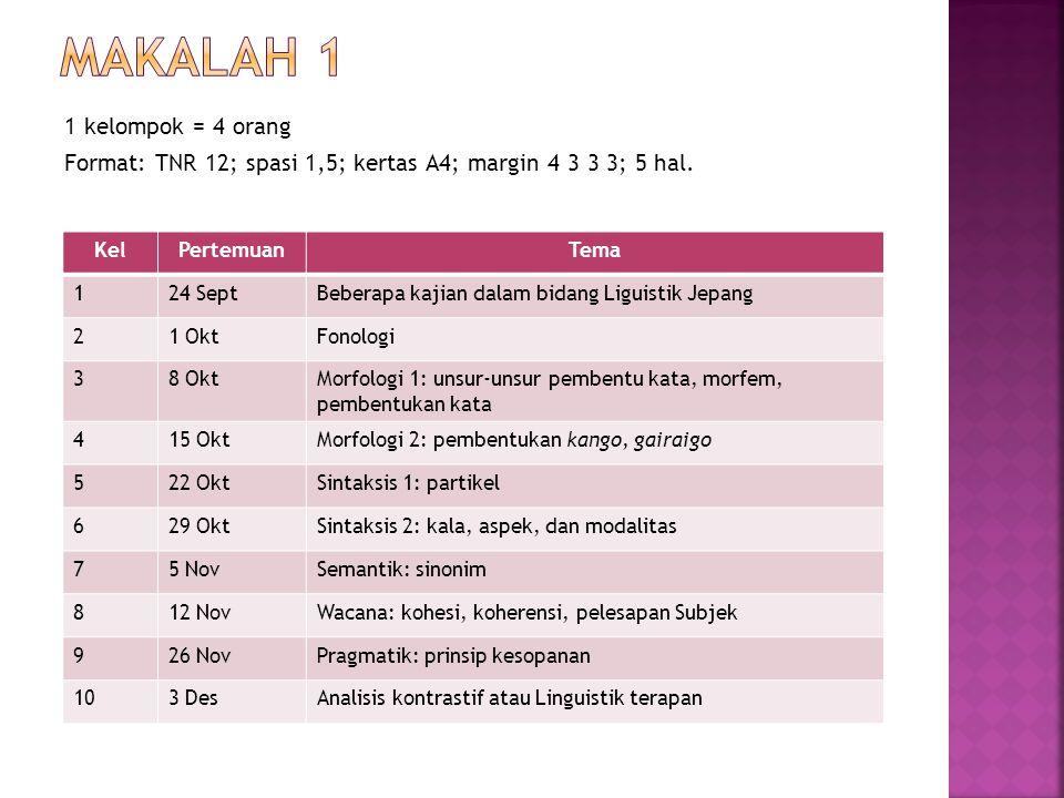 Presentasi Mandiri (Rancangan penelitian) Format: TNR 12; spasi 1,5; kertas A4; margin 4 3 3 3; 10 hal.