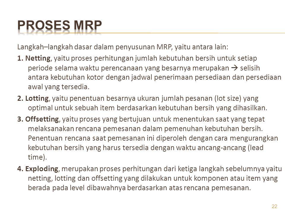 Langkah–langkah dasar dalam penyusunan MRP, yaitu antara lain: 1. Netting, yaitu proses perhitungan jumlah kebutuhan bersih untuk setiap periode selam