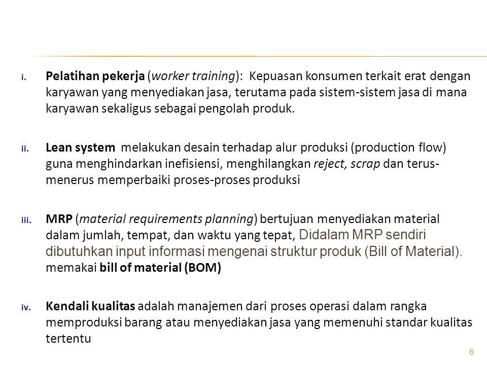  Bill of Material Merupakan daftar dari semua material, parts, dan sub- assemblies, serta kuantitas dari masing-masing yang dibutuhkan untuk memproduksi satu unit produk atau parent assembly.