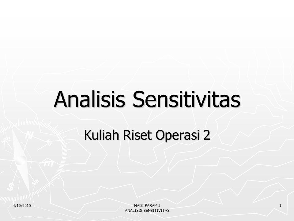 4/10/2015 HADI PARAMU ANALISIS SENSITIVITAS 1 Analisis Sensitivitas Kuliah Riset Operasi 2