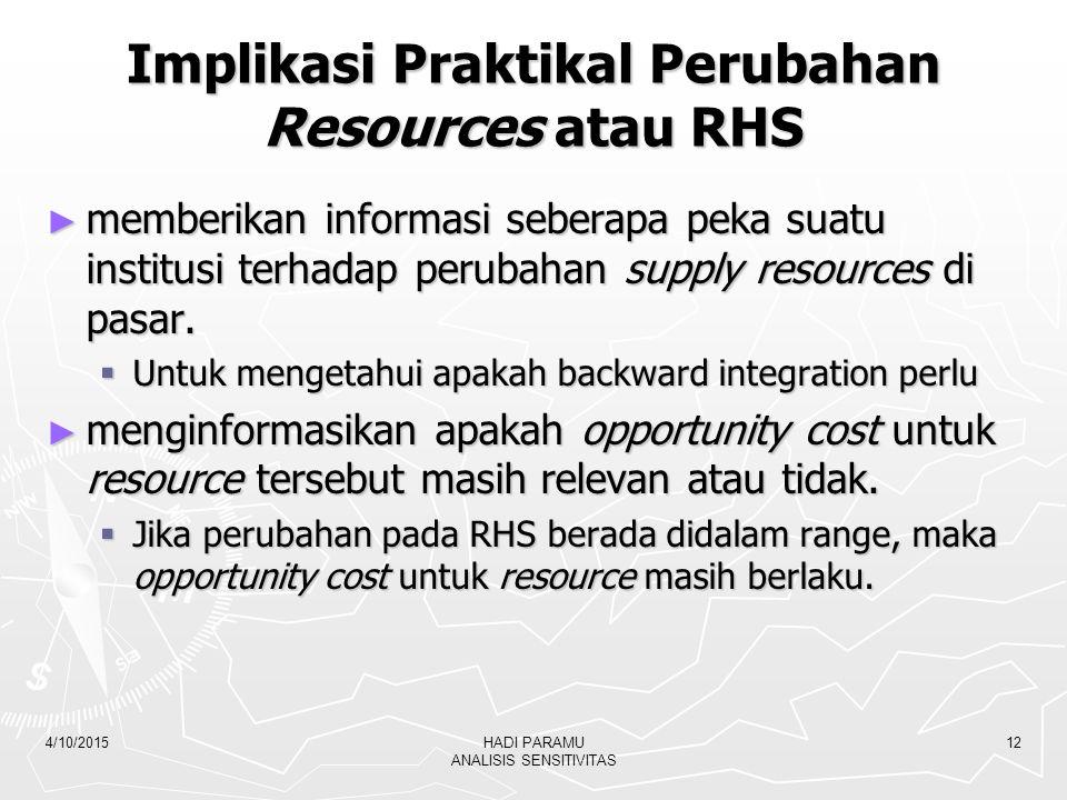 4/10/2015HADI PARAMU ANALISIS SENSITIVITAS 12 Implikasi Praktikal Perubahan Resources atau RHS ► memberikan informasi seberapa peka suatu institusi te