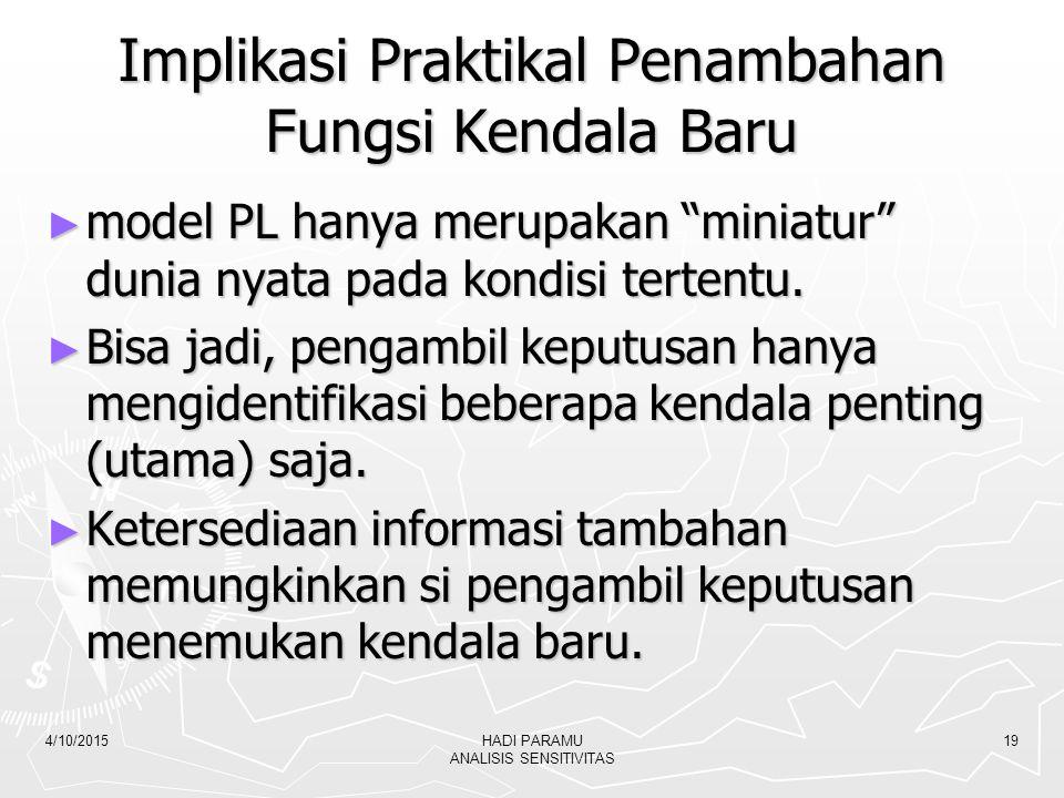 "4/10/2015HADI PARAMU ANALISIS SENSITIVITAS 19 Implikasi Praktikal Penambahan Fungsi Kendala Baru ► model PL hanya merupakan ""miniatur"" dunia nyata pad"