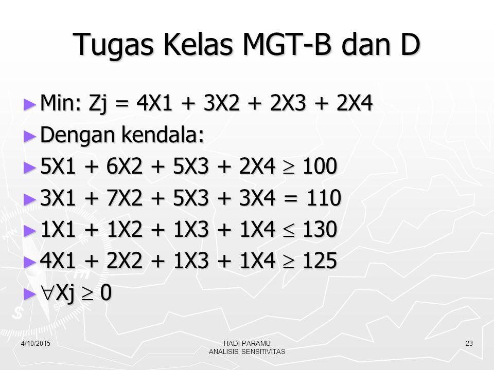 Tugas Kelas MGT-B dan D ► Min: Zj = 4X1 + 3X2 + 2X3 + 2X4 ► Dengan kendala: ► 5X1 + 6X2 + 5X3 + 2X4  100 ► 3X1 + 7X2 + 5X3 + 3X4 = 110 ► 1X1 + 1X2 +