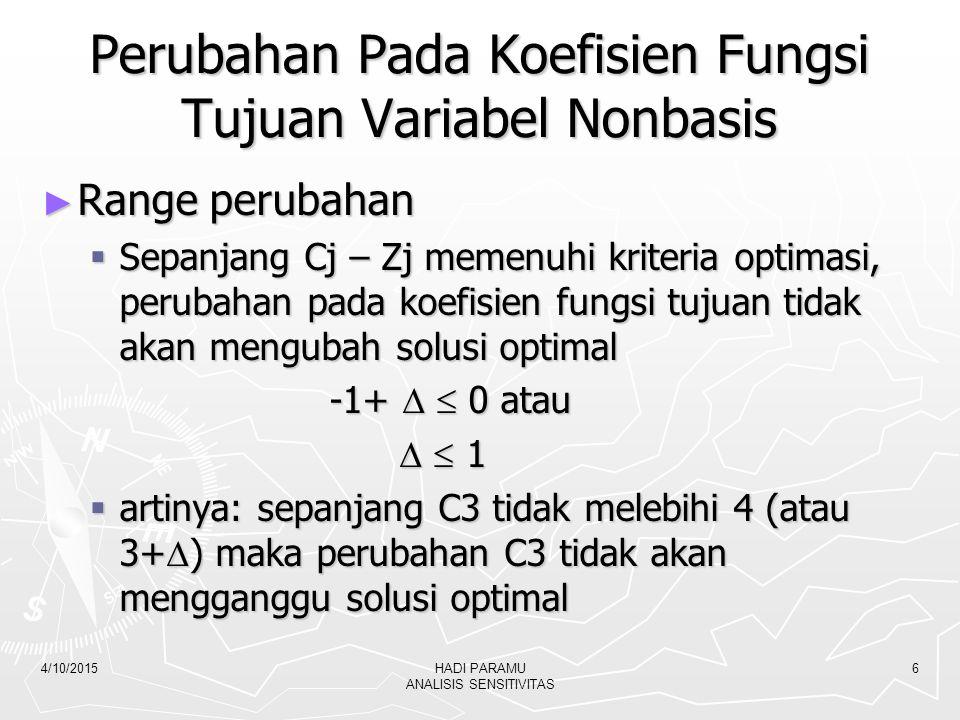 4/10/2015HADI PARAMU ANALISIS SENSITIVITAS 7 Perubahan Koefisien Fungsi Tujuan Variabel Basis CjBV 2+  X12X23X30S10S20S3RHS 2X20122/3 - 1/3 0 26 2/3 2 +  X1100 - 1/3 2/30 46 2/3 0S300 - 1/3 1 26 2/3 zj 2+  24 2/3 – 1/3  2/3 + 2/3  0 146 2/3 + 46 2/3  cj-zj00 -2/3 + 1/3  -2/3 + 1/3  -2/3 - 2/3  0