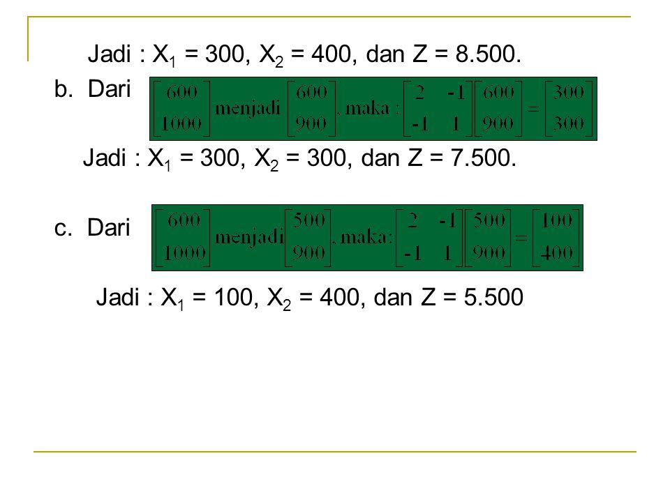 Jadi : X 1 = 300, X 2 = 400, dan Z = 8.500. b. Dari Jadi : X 1 = 300, X 2 = 300, dan Z = 7.500. c. Dari Jadi : X 1 = 100, X 2 = 400, dan Z = 5.500