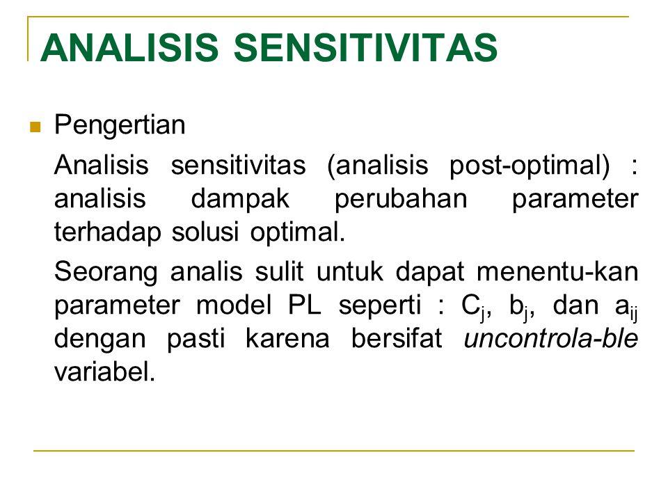 ANALISIS SENSITIVITAS Pengertian Analisis sensitivitas (analisis post-optimal) : analisis dampak perubahan parameter terhadap solusi optimal. Seorang