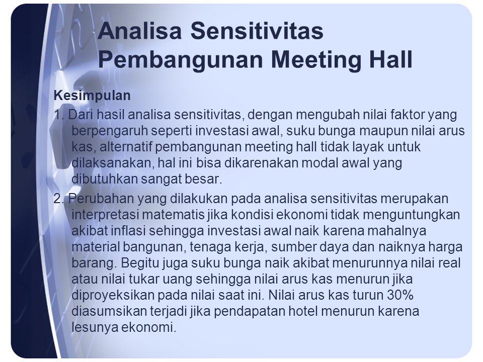 Analisa Sensitivitas Pembangunan Meeting Hall Kesimpulan 1. Dari hasil analisa sensitivitas, dengan mengubah nilai faktor yang berpengaruh seperti inv