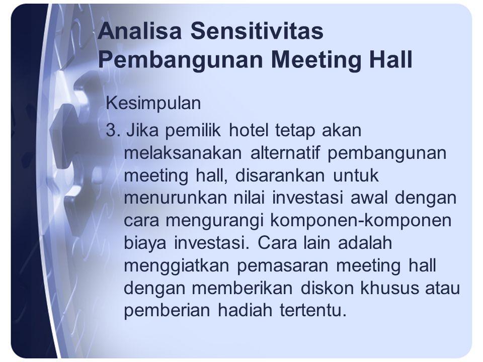 Analisa Sensitivitas Pembangunan Meeting Hall Kesimpulan 3. Jika pemilik hotel tetap akan melaksanakan alternatif pembangunan meeting hall, disarankan