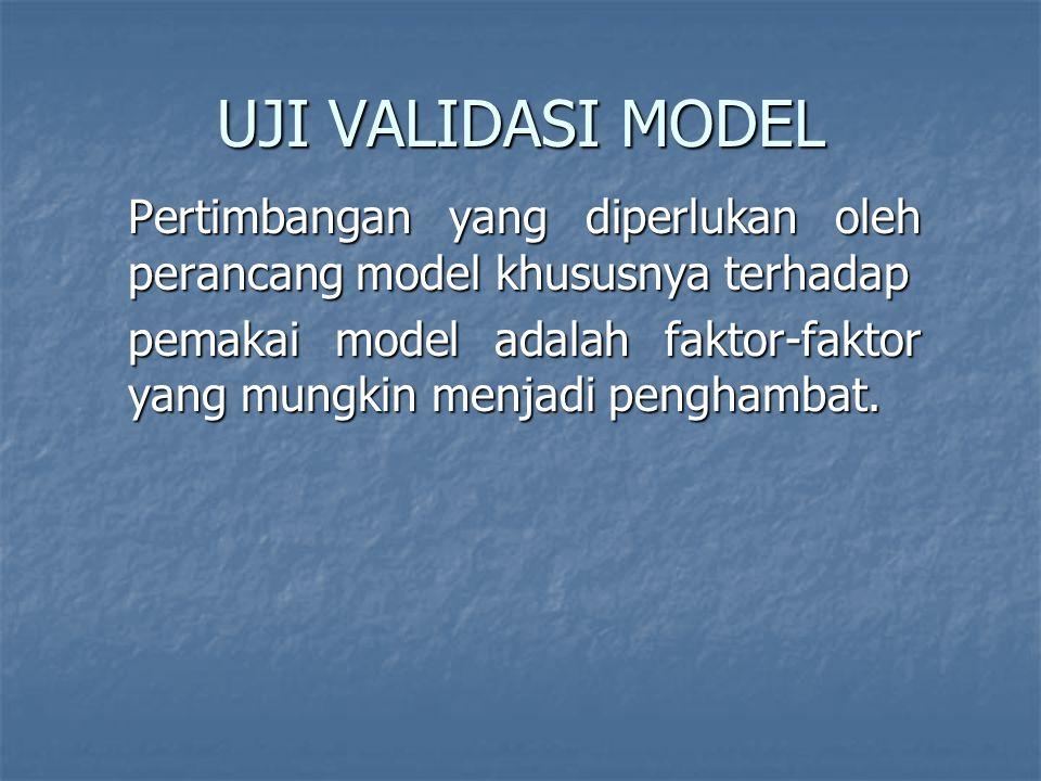 UJI VALIDASI MODEL Pertimbangan yang diperlukan oleh perancang model khususnya terhadap pemakai model adalah faktor-faktor yang mungkin menjadi penghambat.