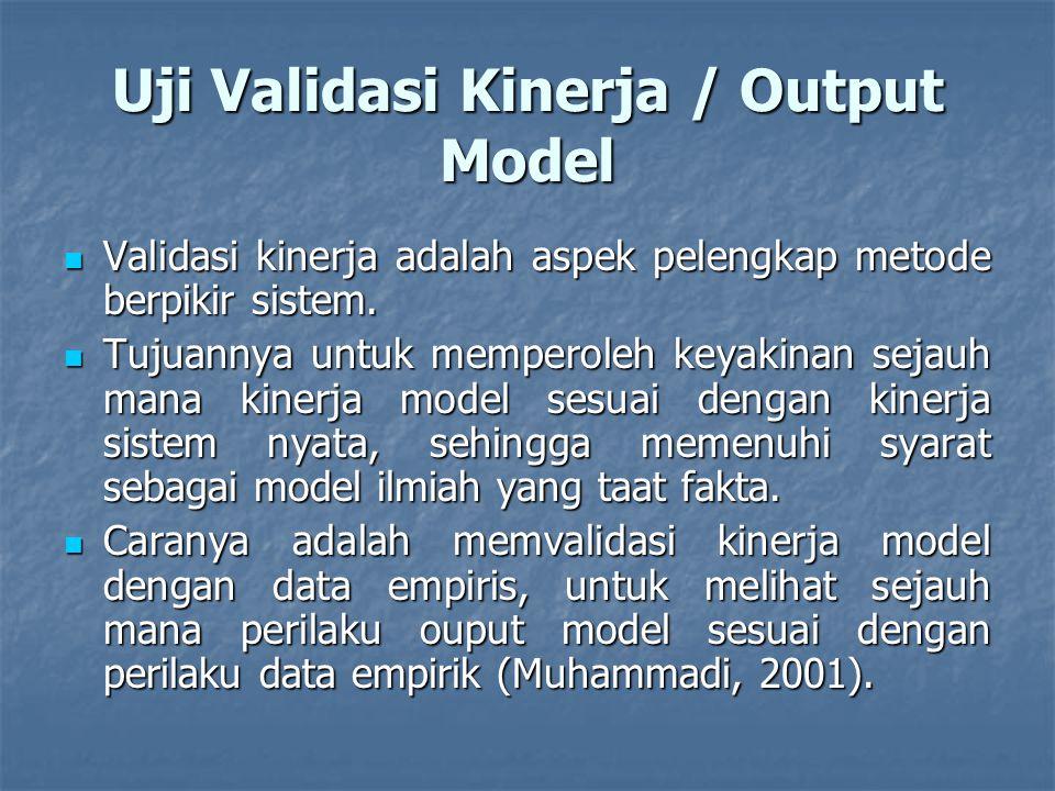 Uji Validasi Kinerja / Output Model Validasi kinerja adalah aspek pelengkap metode berpikir sistem.