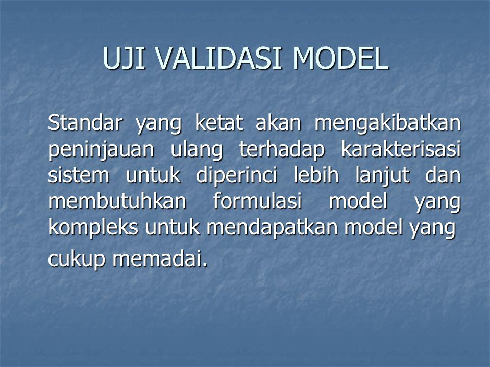 UJI VALIDASI MODEL Standar yang ketat akan mengakibatkan peninjauan ulang terhadap karakterisasi sistem untuk diperinci lebih lanjut dan membutuhkan formulasi model yang kompleks untuk mendapatkan model yang cukup memadai.