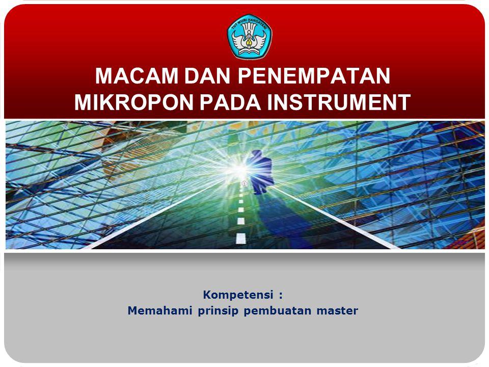 MACAM DAN PENEMPATAN MIKROPON PADA INSTRUMENT Kompetensi : Memahami prinsip pembuatan master