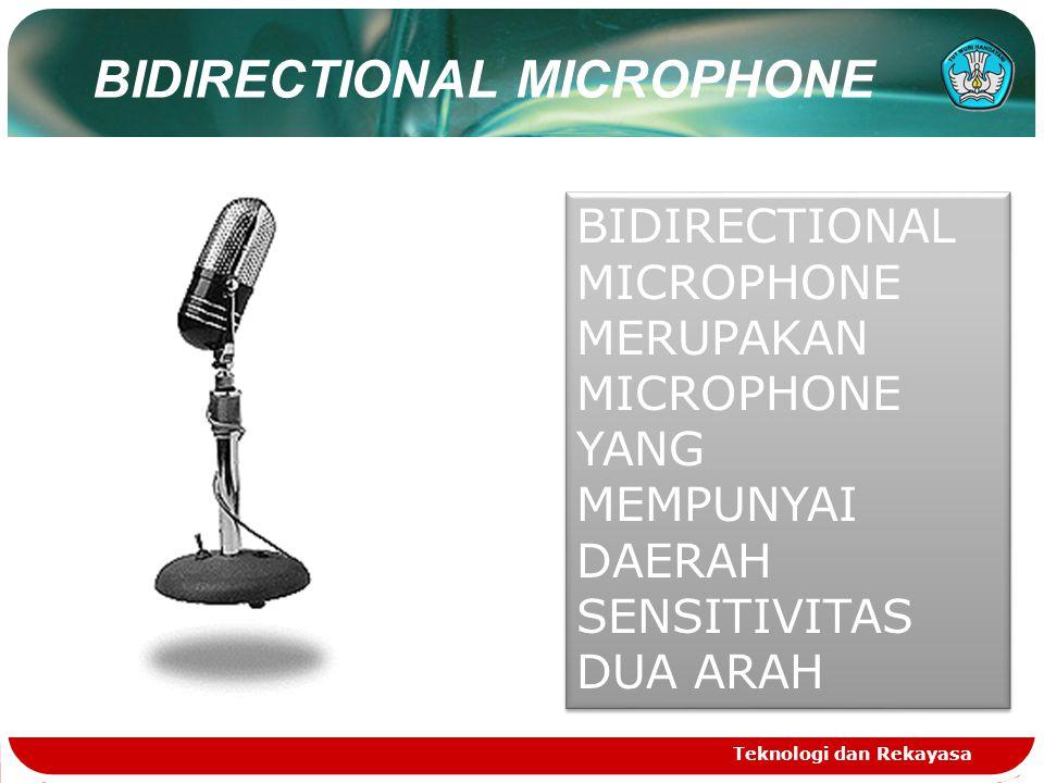 Teknologi dan Rekayasa BIDIRECTIONAL MICROPHONE MERUPAKAN MICROPHONE YANG MEMPUNYAI DAERAH SENSITIVITAS DUA ARAH BIDIRECTIONAL MICROPHONE MERUPAKAN MICROPHONE YANG MEMPUNYAI DAERAH SENSITIVITAS DUA ARAH BIDIRECTIONAL MICROPHONE