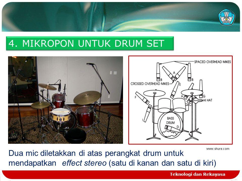 Teknologi dan Rekayasa 4.MIKROPON UNTUK DRUM SET Dua mic diletakkan di atas perangkat drum untuk mendapatkan effect stereo (satu di kanan dan satu di kiri)