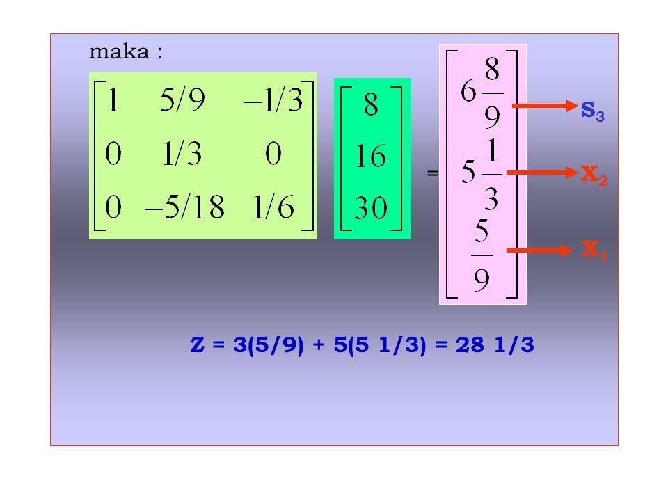 maka : S 3 = X 2 X 1 Z = 3(5/9) + 5(5 1/3) = 28 1/3