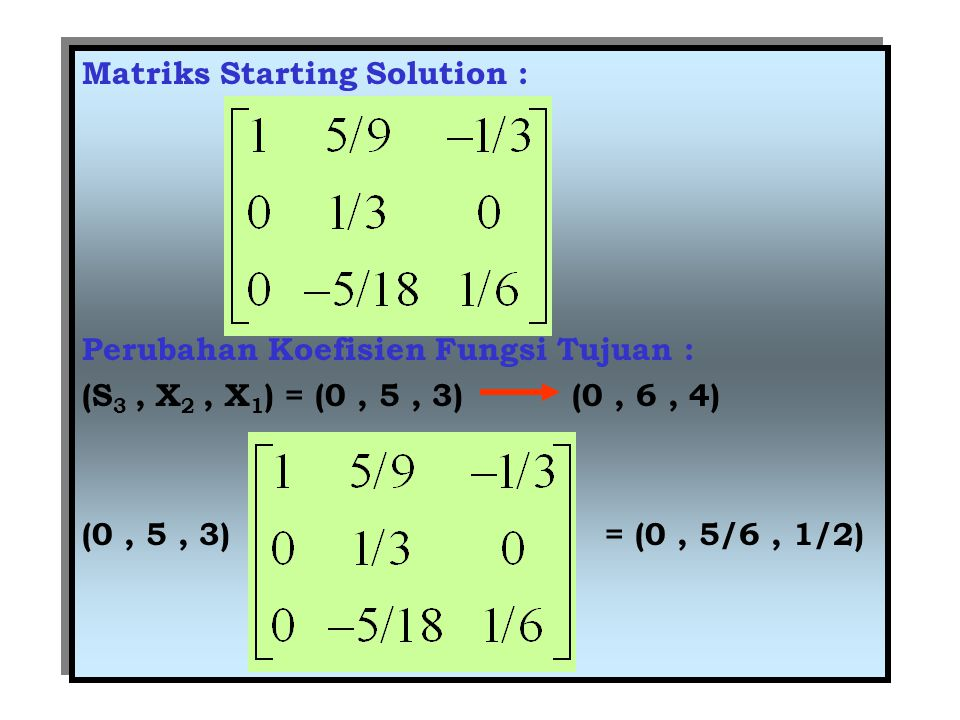 Matriks Starting Solution : Perubahan Koefisien Fungsi Tujuan : (S 3, X 2, X 1 ) = (0, 5, 3) (0, 6, 4) (0, 5, 3) = (0, 5/6, 1/2) Matriks Starting Solu