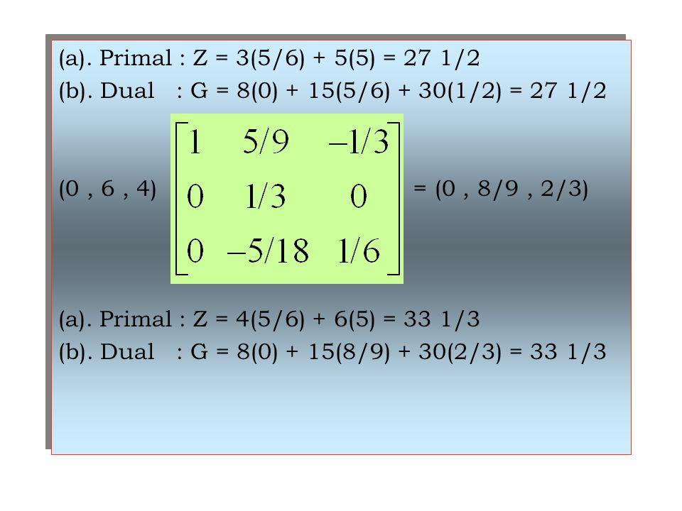 (a). Primal : Z = 3(5/6) + 5(5) = 27 1/2 (b). Dual : G = 8(0) + 15(5/6) + 30(1/2) = 27 1/2 (0, 6, 4) = (0, 8/9, 2/3) (a). Primal : Z = 4(5/6) + 6(5) =