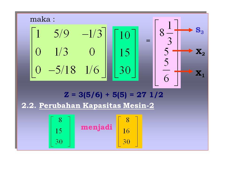 maka : S 3 = X 2 X 1 Z = 3(5/6) + 5(5) = 27 1/2 2.2.