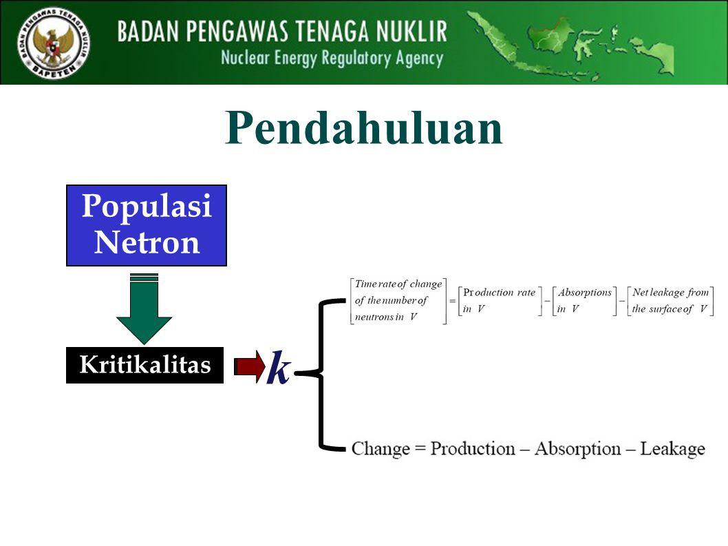 Pendahuluan Kritikalitas k Populasi Netron