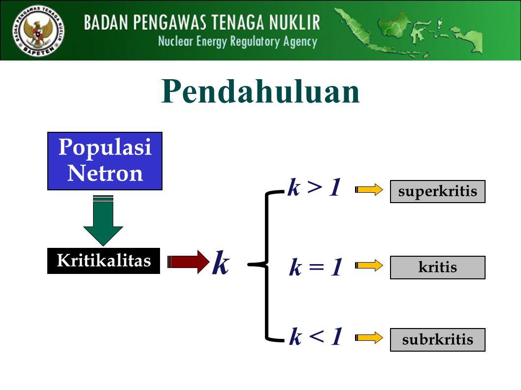 Pendahuluan Kritikalitas k k > 1 Populasi Netron k = 1 k < 1 superkritis kritis subrkritis