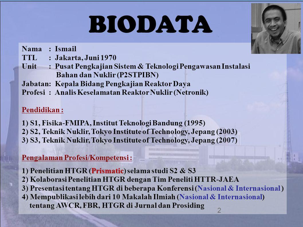 BIODATA 2 Nama: Ismail TTL: Jakarta, Juni 1970 Unit: Pusat Pengkajian Sistem & Teknologi Pengawasan Instalasi Bahan dan Nuklir (P2STPIBN) Jabatan: Kep