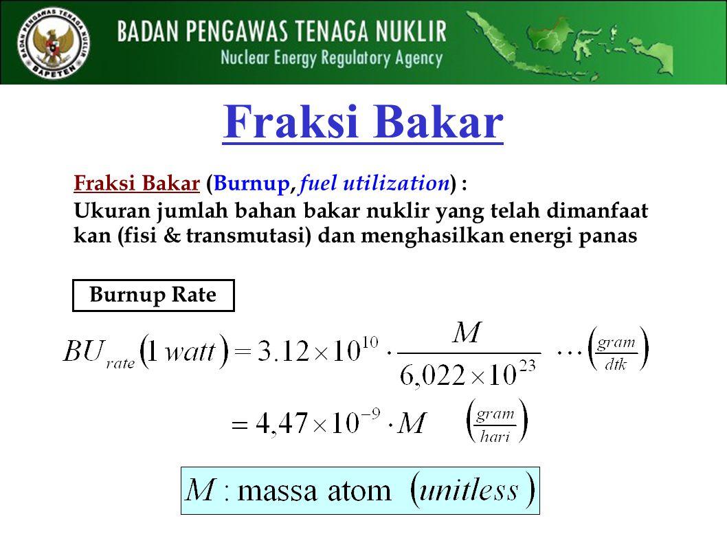 Fraksi Bakar Burnup Rate Fraksi Bakar (Burnup, fuel utilization ) : Ukuran jumlah bahan bakar nuklir yang telah dimanfaat kan (fisi & transmutasi) dan menghasilkan energi panas