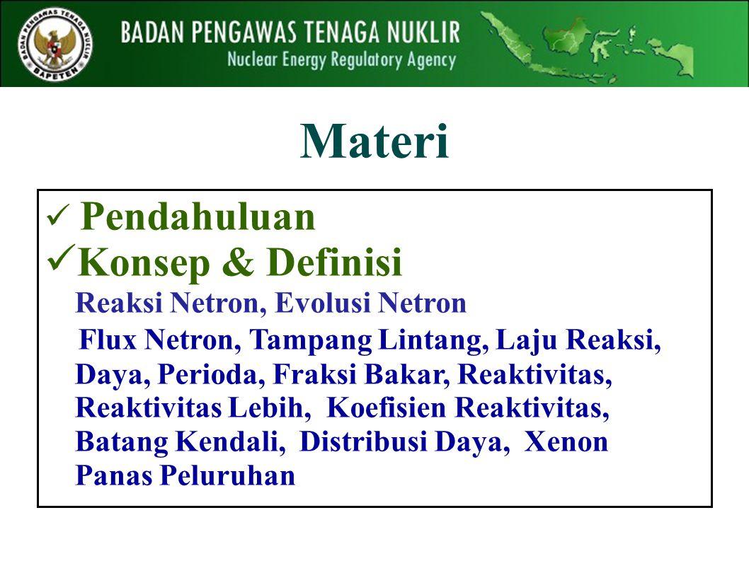 Materi Pendahuluan Konsep & Definisi Reaksi Netron, Evolusi Netron Flux Netron, Tampang Lintang, Laju Reaksi, Daya, Perioda, Fraksi Bakar, Reaktivitas, Reaktivitas Lebih, Koefisien Reaktivitas, Batang Kendali, Distribusi Daya, Xenon Panas Peluruhan