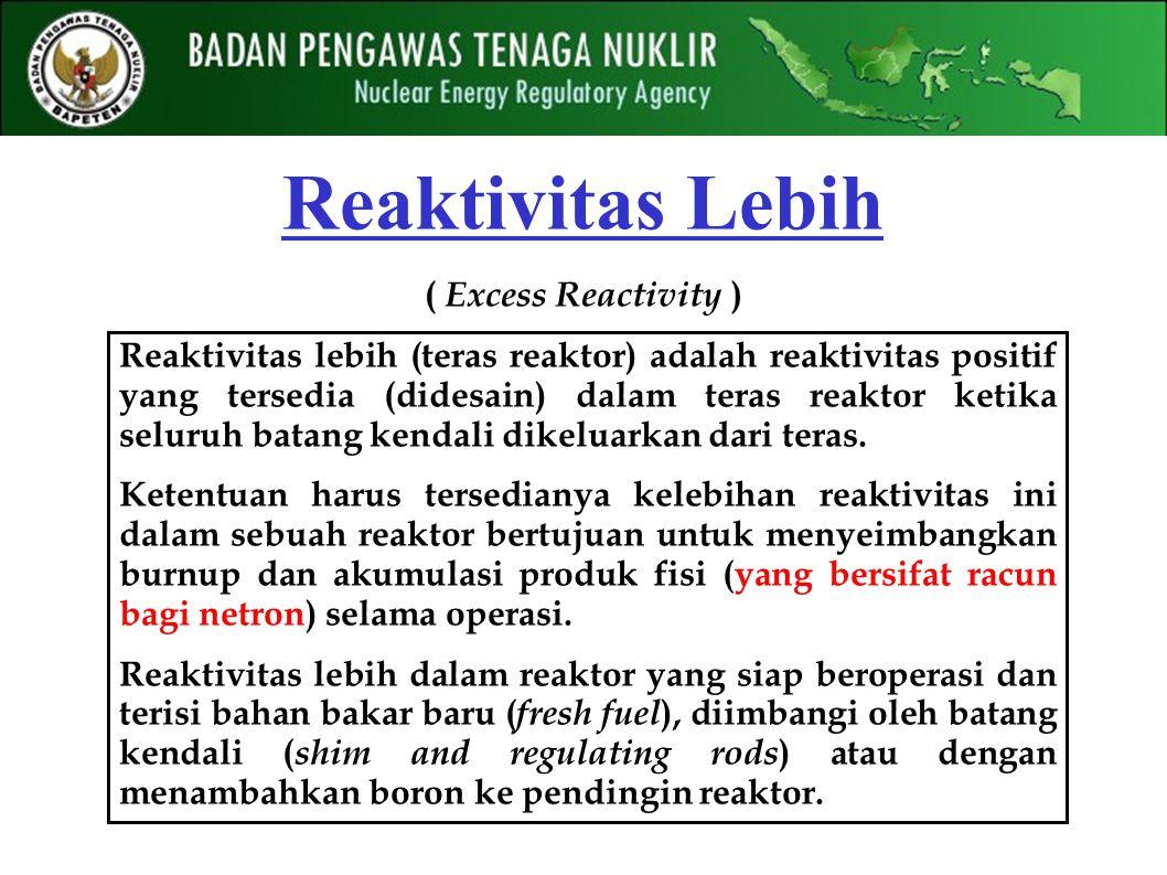 Reaktivitas Lebih ( Excess Reactivity ) Reaktivitas lebih (teras reaktor) adalah reaktivitas positif yang tersedia (didesain) dalam teras reaktor ketika seluruh batang kendali dikeluarkan dari teras.