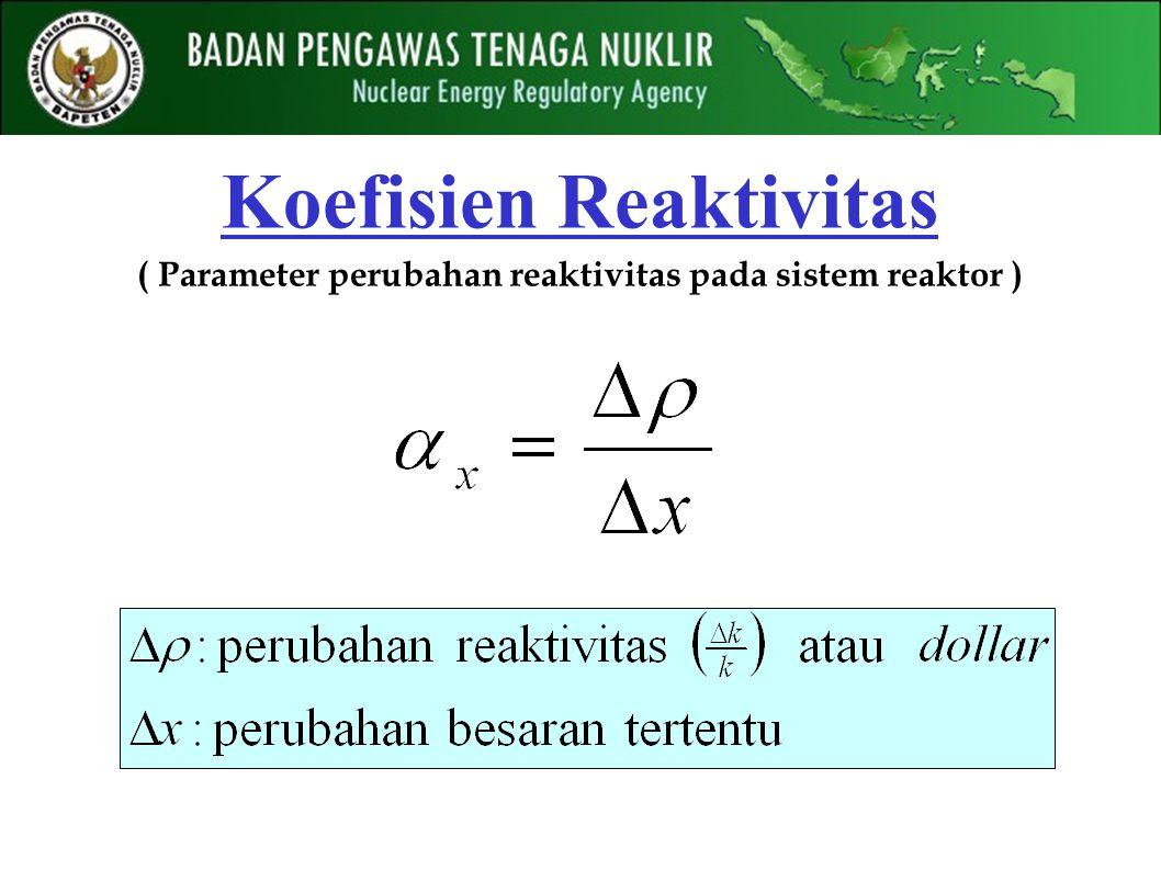 Koefisien Reaktivitas ( Parameter perubahan reaktivitas pada sistem reaktor )