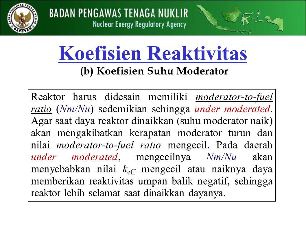 Reaktor harus didesain memiliki moderator-to-fuel ratio (Nm/Nu) sedemikian sehingga under moderated. Agar saat daya reaktor dinaikkan (suhu moderator