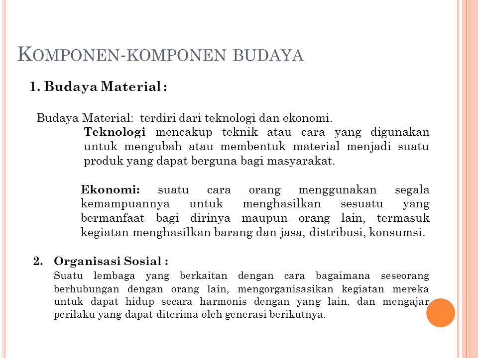 K OMPONEN - KOMPONEN BUDAYA 1. Budaya Material : Budaya Material: terdiri dari teknologi dan ekonomi. Teknologi mencakup teknik atau cara yang digunak