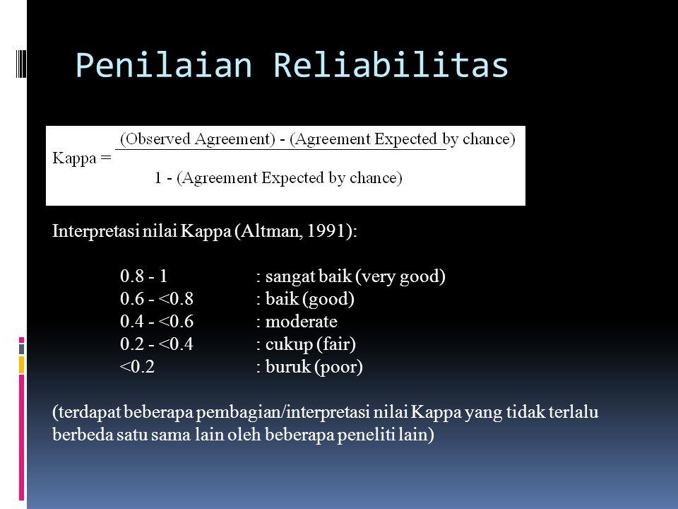 Penilaian Reliabilitas Interpretasi nilai Kappa (Altman, 1991): 0.8 - 1: sangat baik (very good) 0.6 - <0.8: baik (good) 0.4 - <0.6: moderate 0.2 - <0.4: cukup (fair) <0.2: buruk (poor) (terdapat beberapa pembagian/interpretasi nilai Kappa yang tidak terlalu berbeda satu sama lain oleh beberapa peneliti lain)