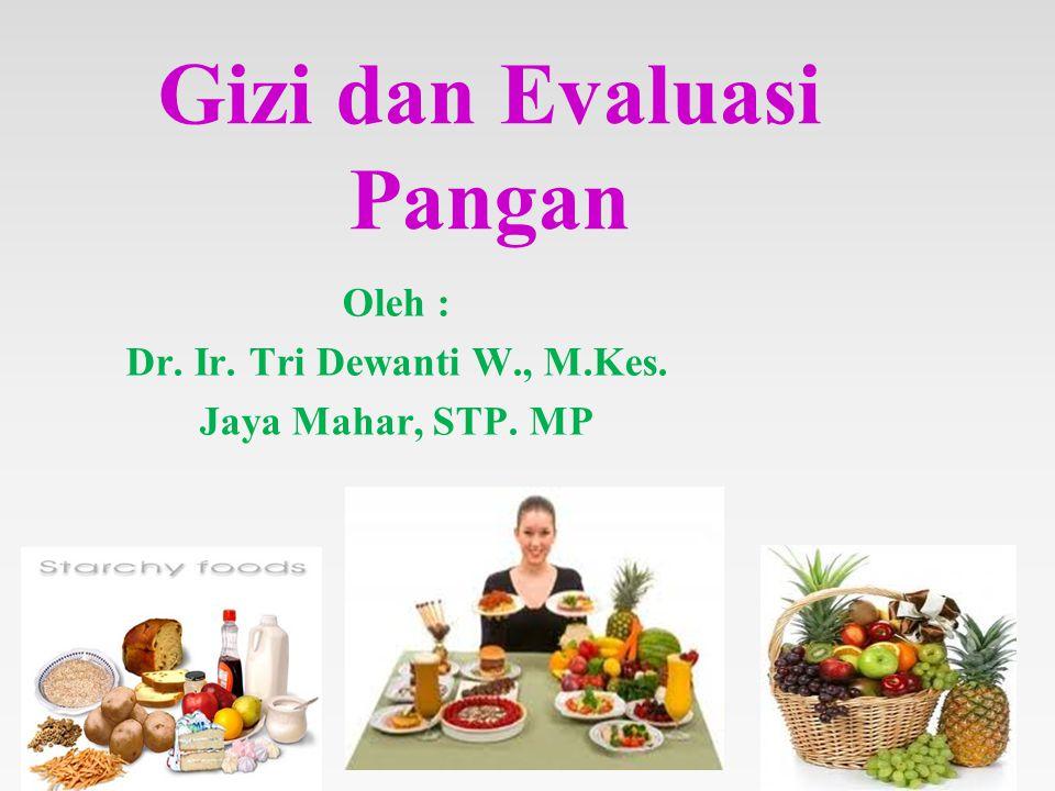 Gizi dan Evaluasi Pangan Oleh : Dr. Ir. Tri Dewanti W., M.Kes. Jaya Mahar, STP. MP