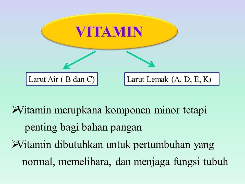  Vitamin merupkana komponen minor tetapi penting bagi bahan pangan  Vitamin dibutuhkan untuk pertumbuhan yang normal, memelihara, dan menjaga fungsi