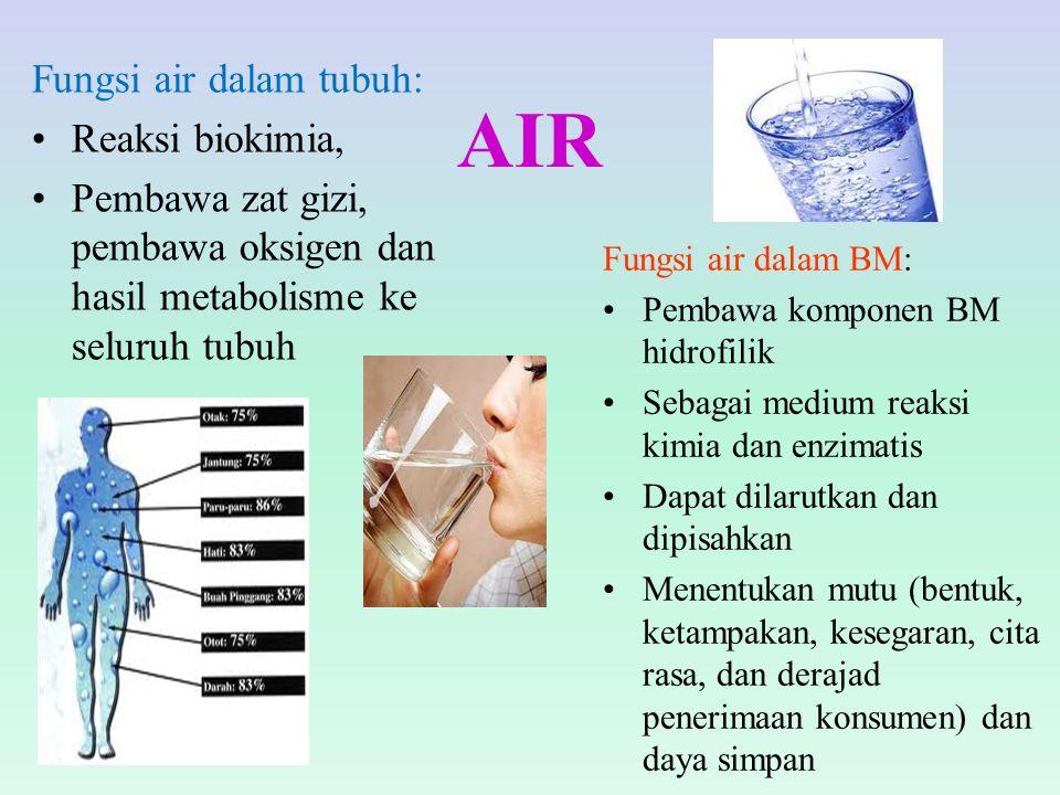 AIR Fungsi air dalam tubuh: Reaksi biokimia, Pembawa zat gizi, pembawa oksigen dan hasil metabolisme ke seluruh tubuh Fungsi air dalam BM: Pembawa kom