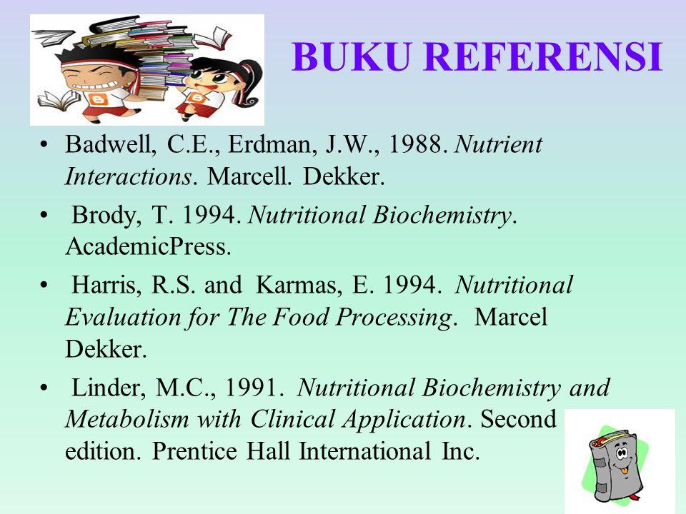 BUKU REFERENSI Badwell, C.E., Erdman, J.W., 1988. Nutrient Interactions. Marcell. Dekker. Brody, T. 1994. Nutritional Biochemistry. AcademicPress. Har
