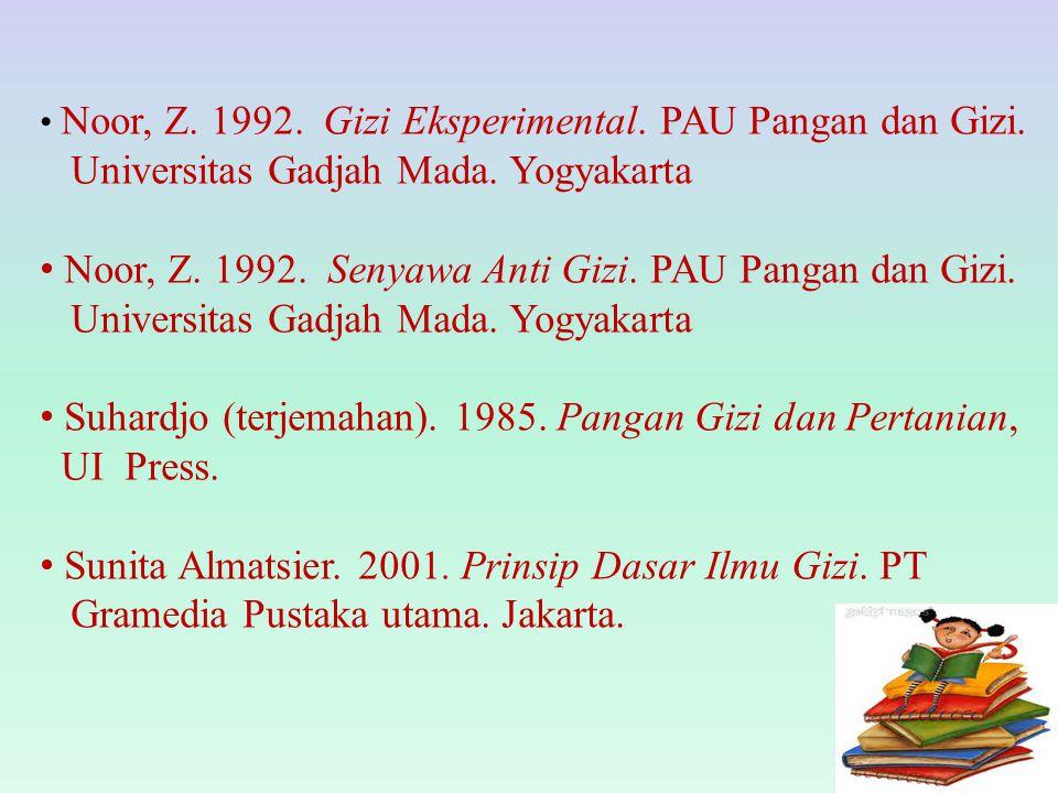 Noor, Z. 1992. Gizi Eksperimental. PAU Pangan dan Gizi. Universitas Gadjah Mada. Yogyakarta Noor, Z. 1992. Senyawa Anti Gizi. PAU Pangan dan Gizi. Uni