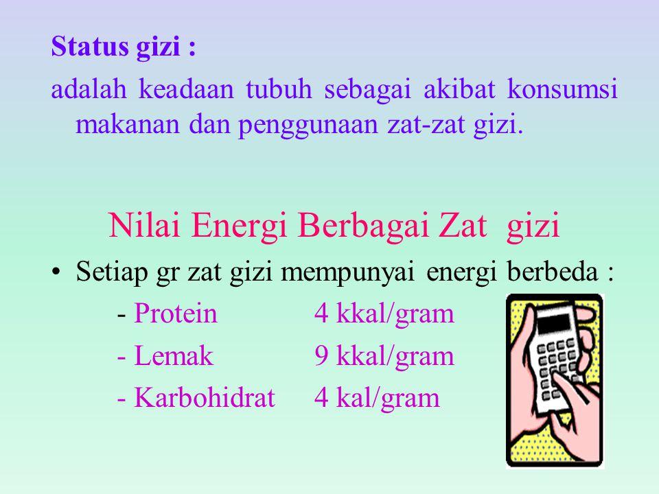 Status gizi : adalah keadaan tubuh sebagai akibat konsumsi makanan dan penggunaan zat-zat gizi. Nilai Energi Berbagai Zat gizi Setiap gr zat gizi memp