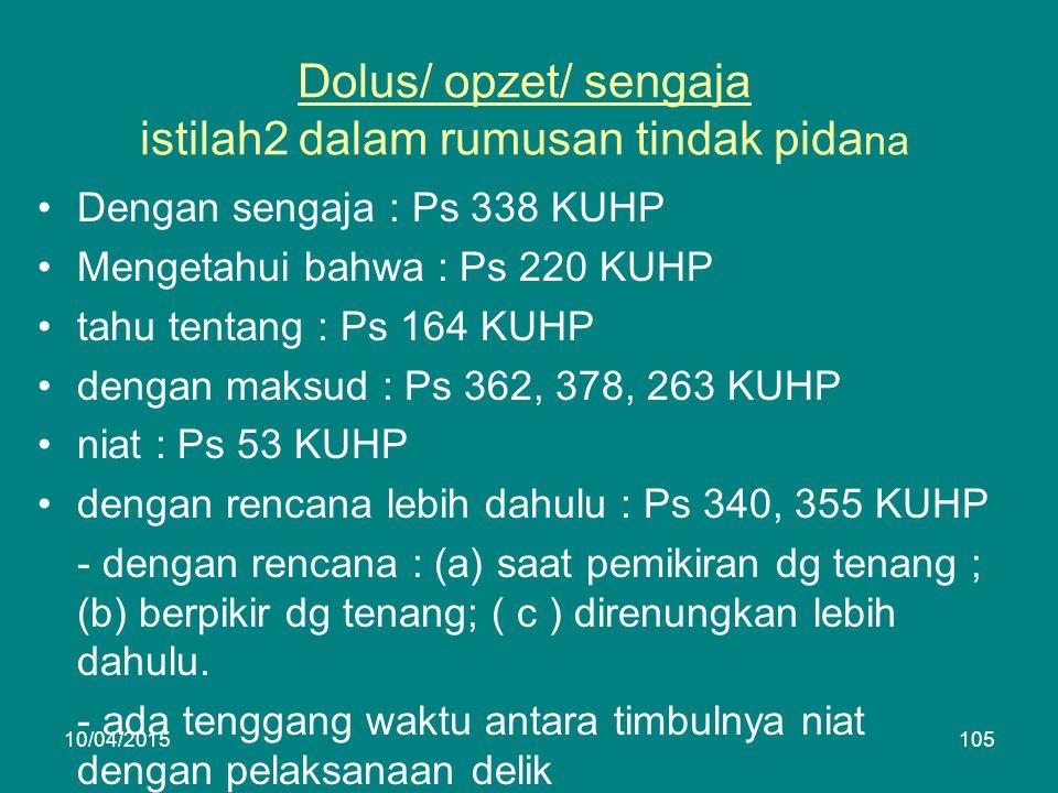 Dolus/ opzet/ sengaja istilah2 dalam rumusan tindak pida na Dengan sengaja : Ps 338 KUHP Mengetahui bahwa : Ps 220 KUHP tahu tentang : Ps 164 KUHP dengan maksud : Ps 362, 378, 263 KUHP niat : Ps 53 KUHP dengan rencana lebih dahulu : Ps 340, 355 KUHP - dengan rencana : (a) saat pemikiran dg tenang ; (b) berpikir dg tenang; ( c ) direnungkan lebih dahulu.