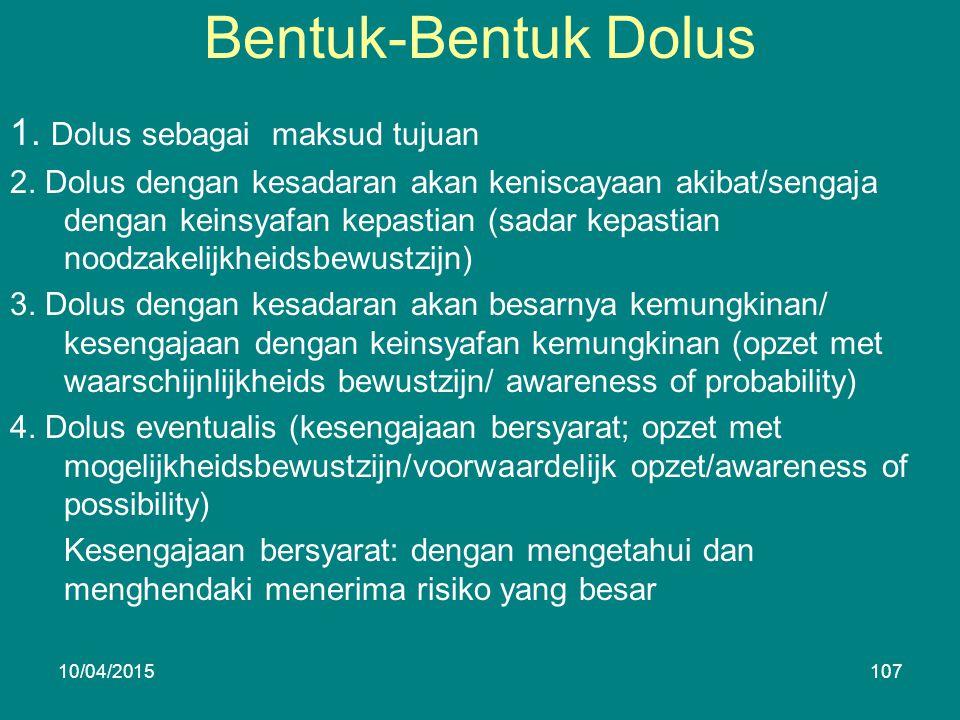 Bentuk-Bentuk Dolus 1. Dolus sebagai maksud tujuan 2.