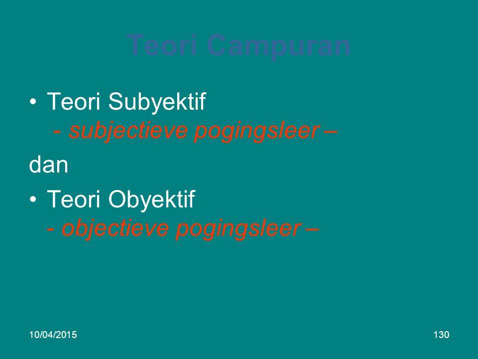 Teori Campuran Teori Subyektif - subjectieve pogingsleer – dan Teori Obyektif - objectieve pogingsleer – 10/04/2015130