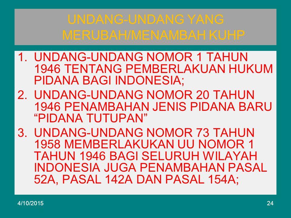 UNDANG-UNDANG YANG MERUBAH/MENAMBAH KUHP 1.UNDANG-UNDANG NOMOR 1 TAHUN 1946 TENTANG PEMBERLAKUAN HUKUM PIDANA BAGI INDONESIA; 2.UNDANG-UNDANG NOMOR 20 TAHUN 1946 PENAMBAHAN JENIS PIDANA BARU PIDANA TUTUPAN 3.UNDANG-UNDANG NOMOR 73 TAHUN 1958 MEMBERLAKUKAN UU NOMOR 1 TAHUN 1946 BAGI SELURUH WILAYAH INDONESIA JUGA PENAMBAHAN PASAL 52A, PASAL 142A DAN PASAL 154A; 4/10/201524