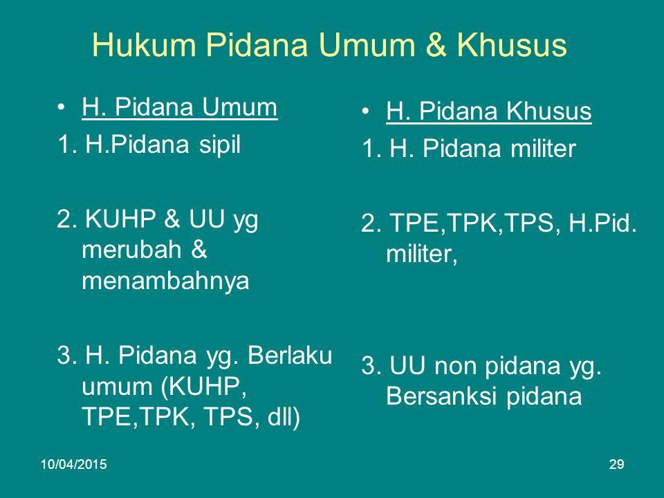 Hukum Pidana Umum & Khusus H. Pidana Umum 1. H.Pidana sipil 2.