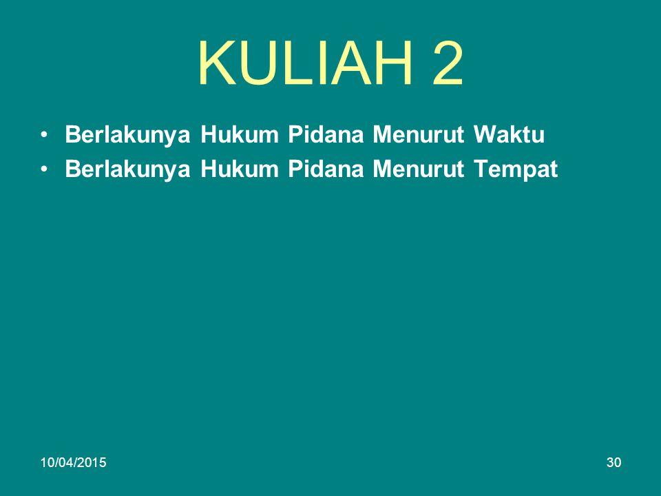 KULIAH 2 Berlakunya Hukum Pidana Menurut Waktu Berlakunya Hukum Pidana Menurut Tempat 10/04/201530