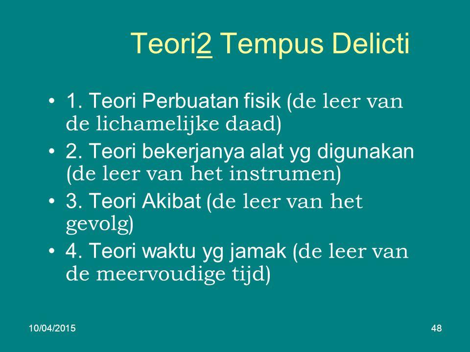 Teori2 Tempus Delicti 1. Teori Perbuatan fisik (de leer van de lichamelijke daad) 2.