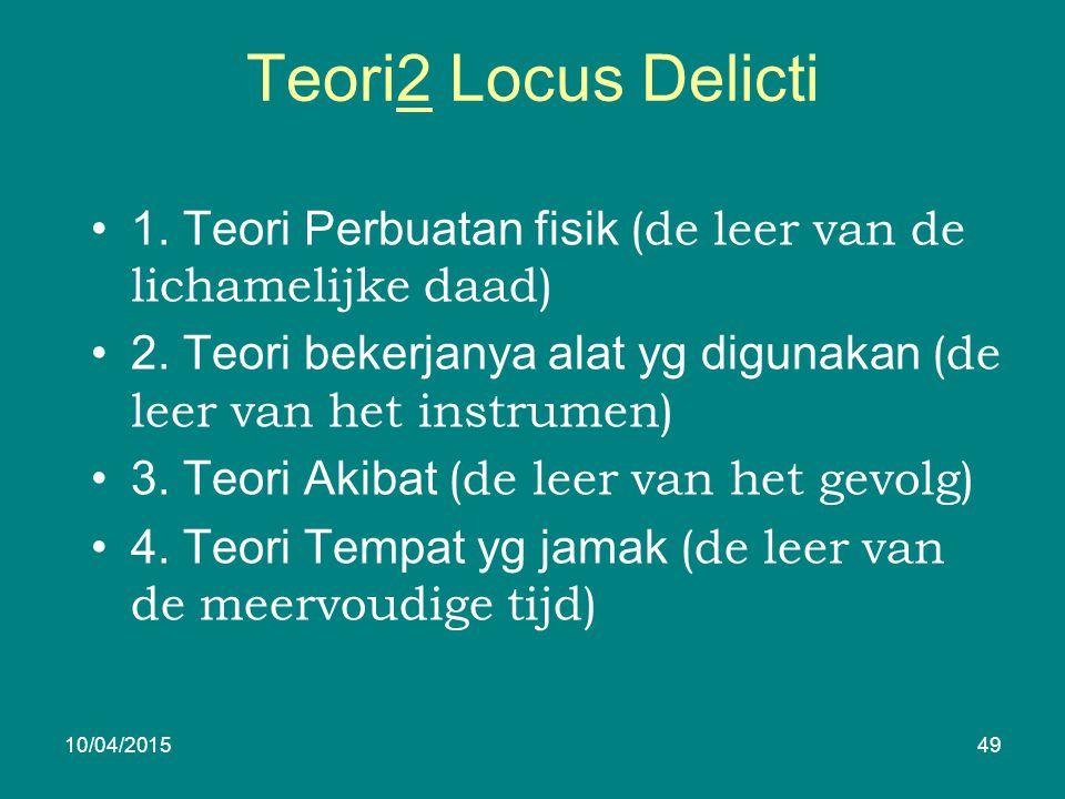 Teori2 Locus Delicti 1. Teori Perbuatan fisik (de leer van de lichamelijke daad) 2.