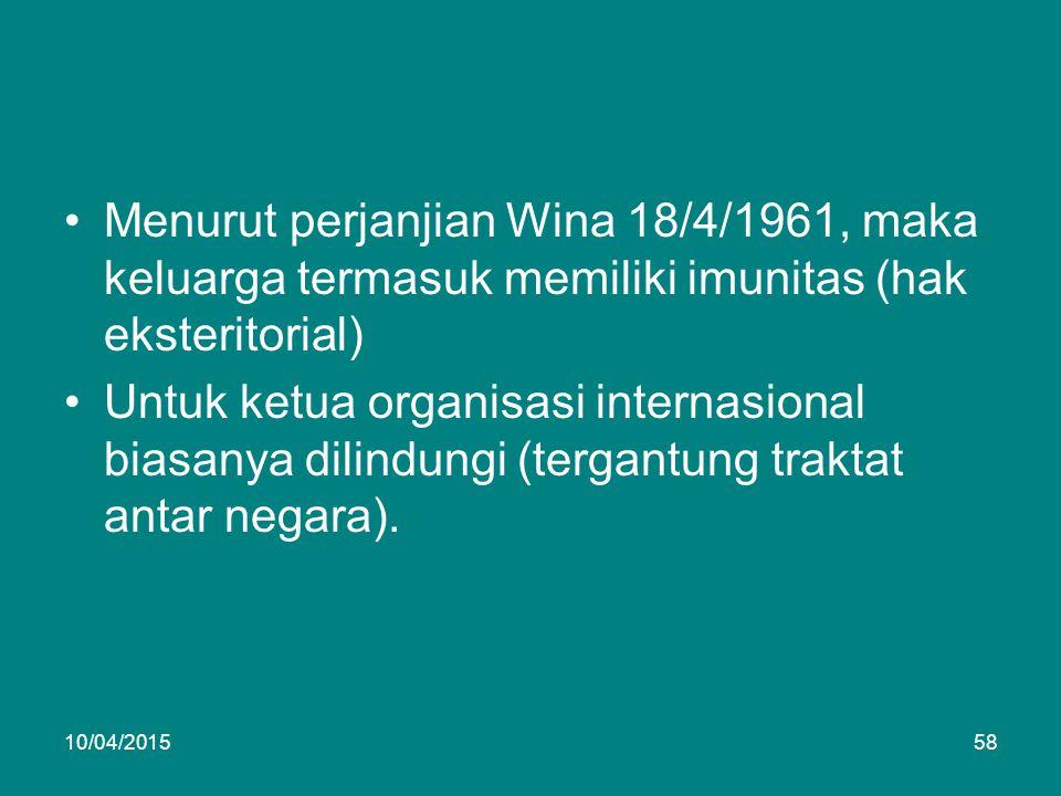 Menurut perjanjian Wina 18/4/1961, maka keluarga termasuk memiliki imunitas (hak eksteritorial) Untuk ketua organisasi internasional biasanya dilindungi (tergantung traktat antar negara).