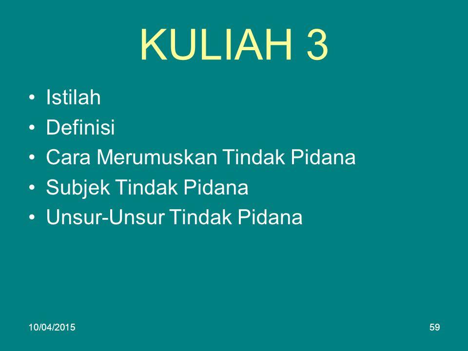 KULIAH 3 Istilah Definisi Cara Merumuskan Tindak Pidana Subjek Tindak Pidana Unsur-Unsur Tindak Pidana 10/04/201559
